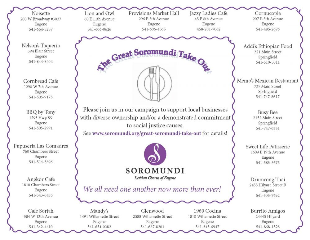 Placemat for the Great Soromundi Take-Out event. The information for the restaurants on the placemat is listed below the image.